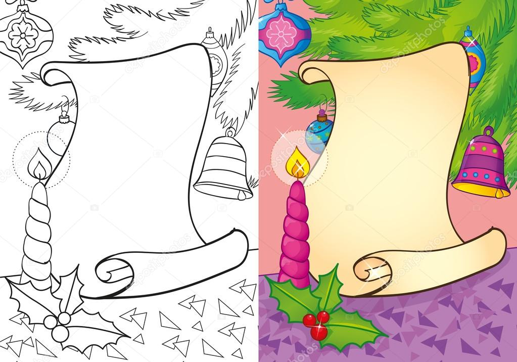 Coloring Book Of Christmas Scroll With Candle