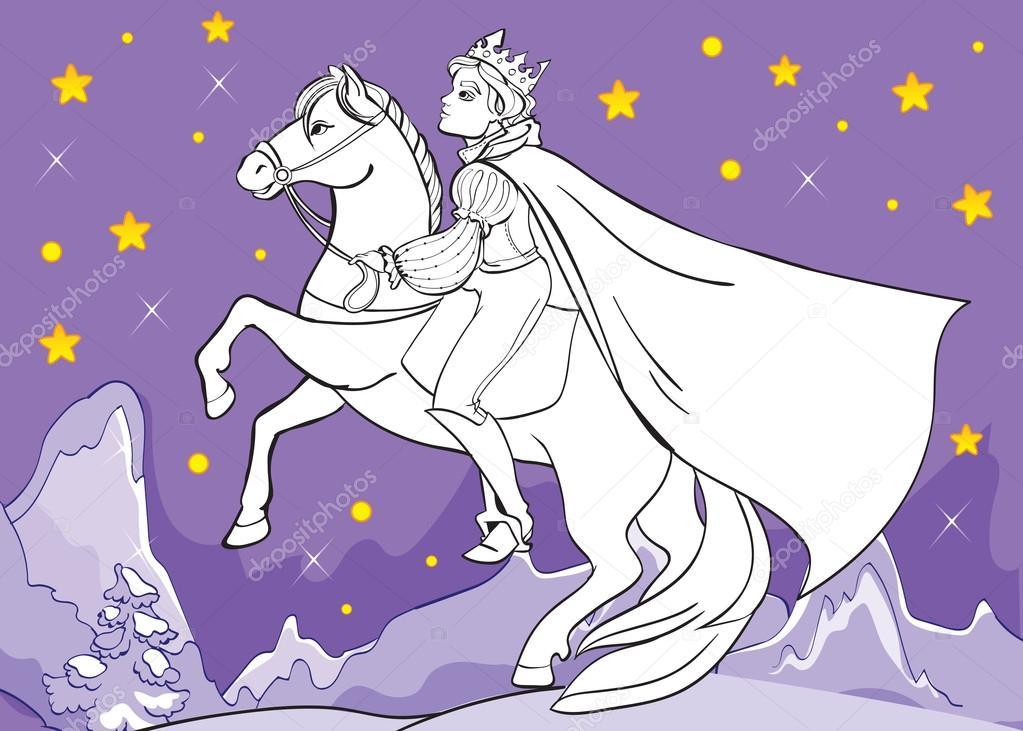 Libro para colorear del príncipe paseos en caballo por la noche ...