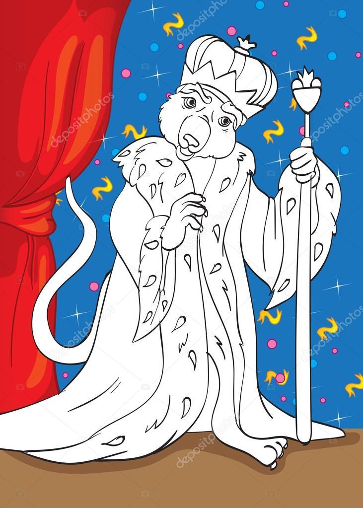 Libro para colorear del ratón rey de cuento Cascanueces — Archivo ...