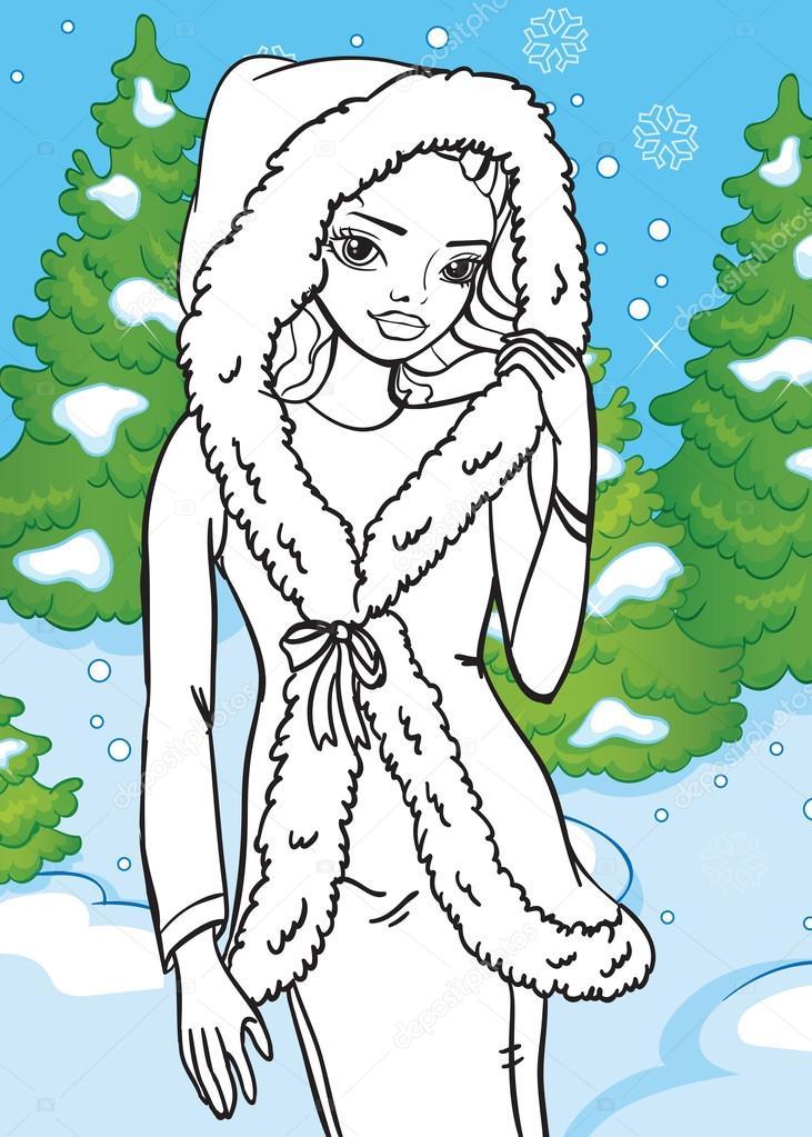 Libro de colorear de la hermosa chica en el bosque de invierno ...