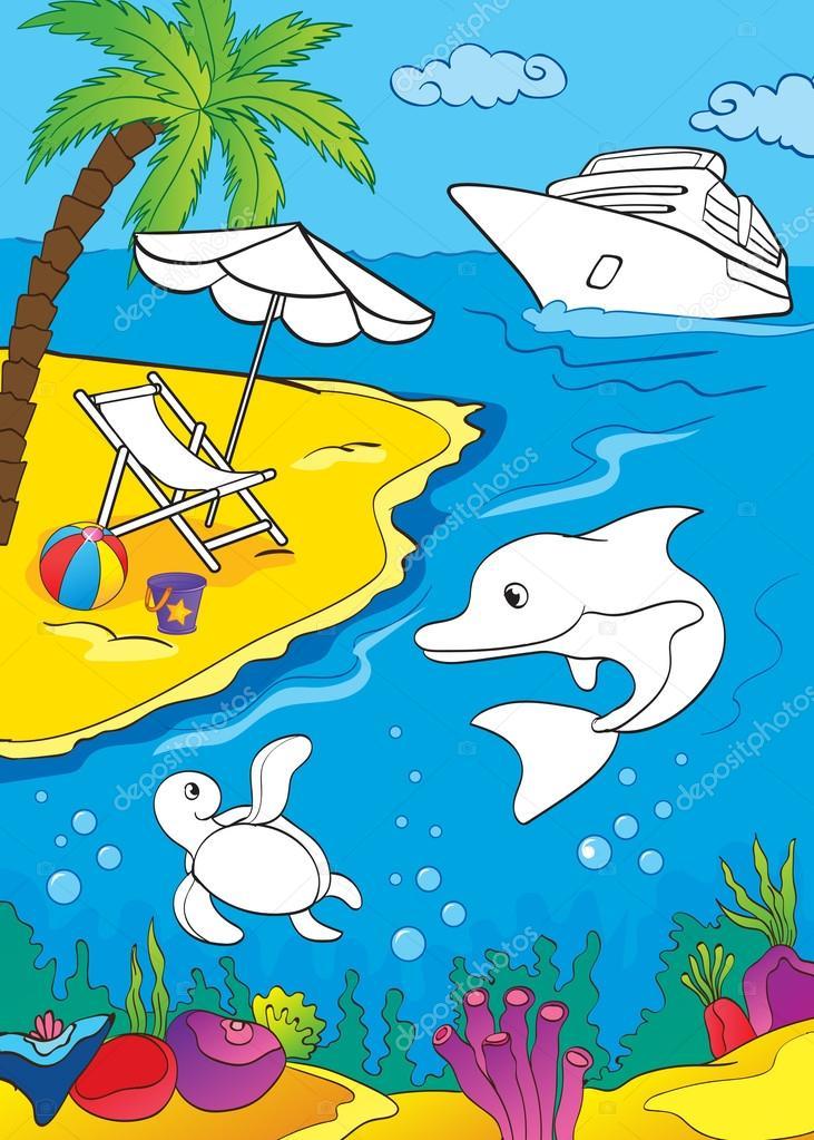 Libro para colorear del mar y la vida Marina — Vector de stock ...