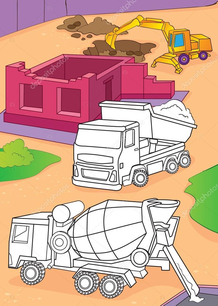 Libro da colorare della betoniera camion ed escavatore - Pagina da colorare camion della spazzatura ...