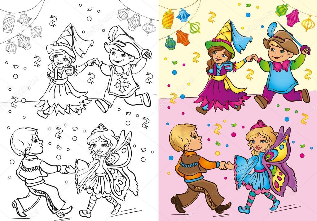 Objetos de carnaval para colorear | Libro de los niños en trajes de ...