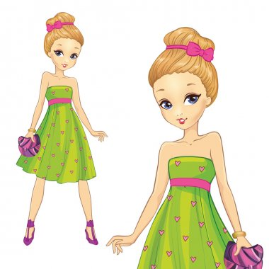 Girl In Green Hearts Print Dress