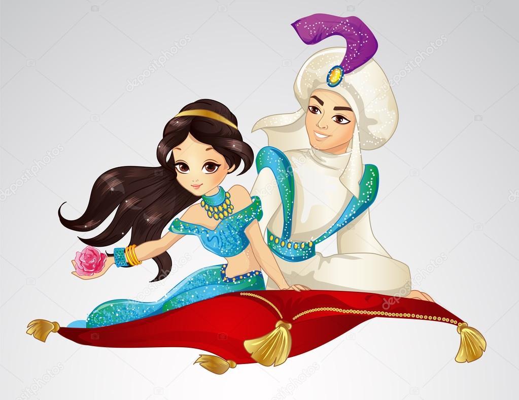 aladdin e la principessa sul tappeto volante — vettoriali stock