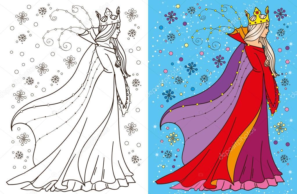 Boyama Kitabı Kar Kraliçesi Stok Vektör Ingasmk 94451280