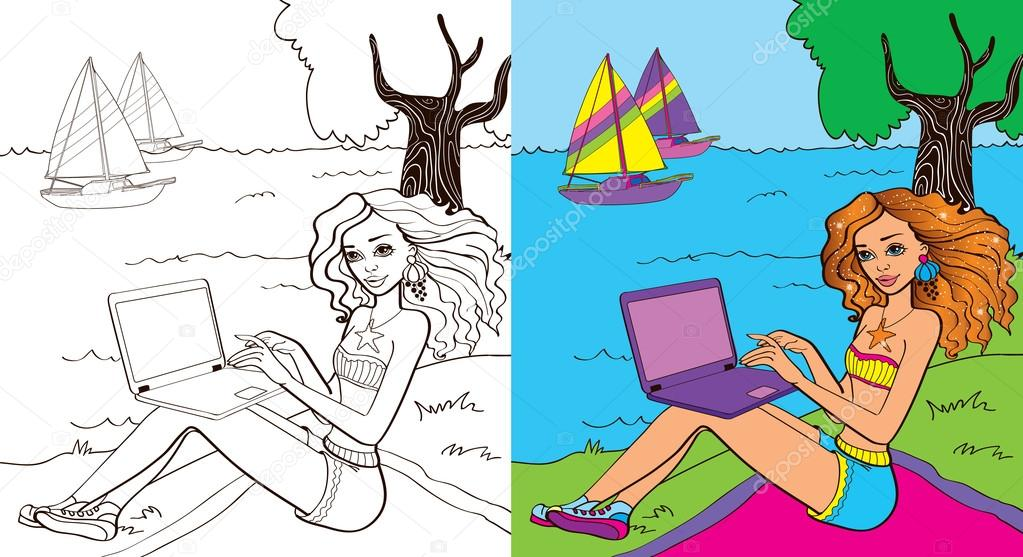 Libro de colorante de chica cerca mar — Vector de stock © ingasmk ...
