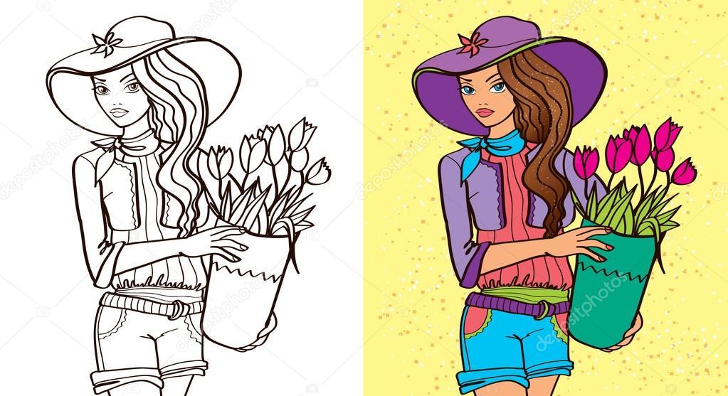 Boyama Kitabı Bir Kız Tutmak çiçekler Stok Vektör Ingasmk 94453652