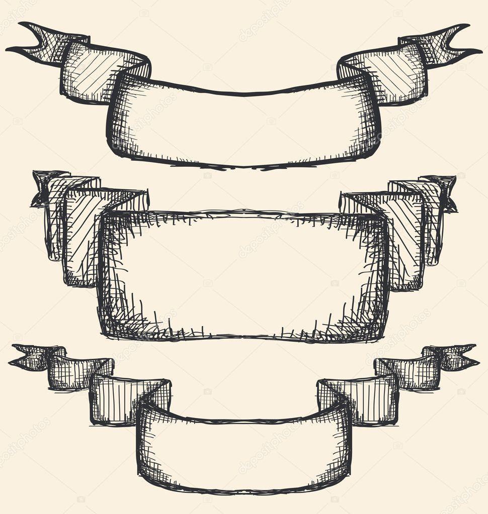 Hand gezeichnete Bänder — Stockvektor © orfeev #111734314