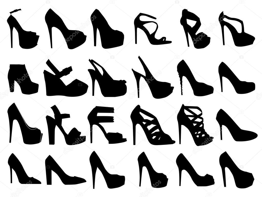 ee489cee Conjunto de siluetas de zapatos moda mujer, vector de fondo — Vector de  orfeev