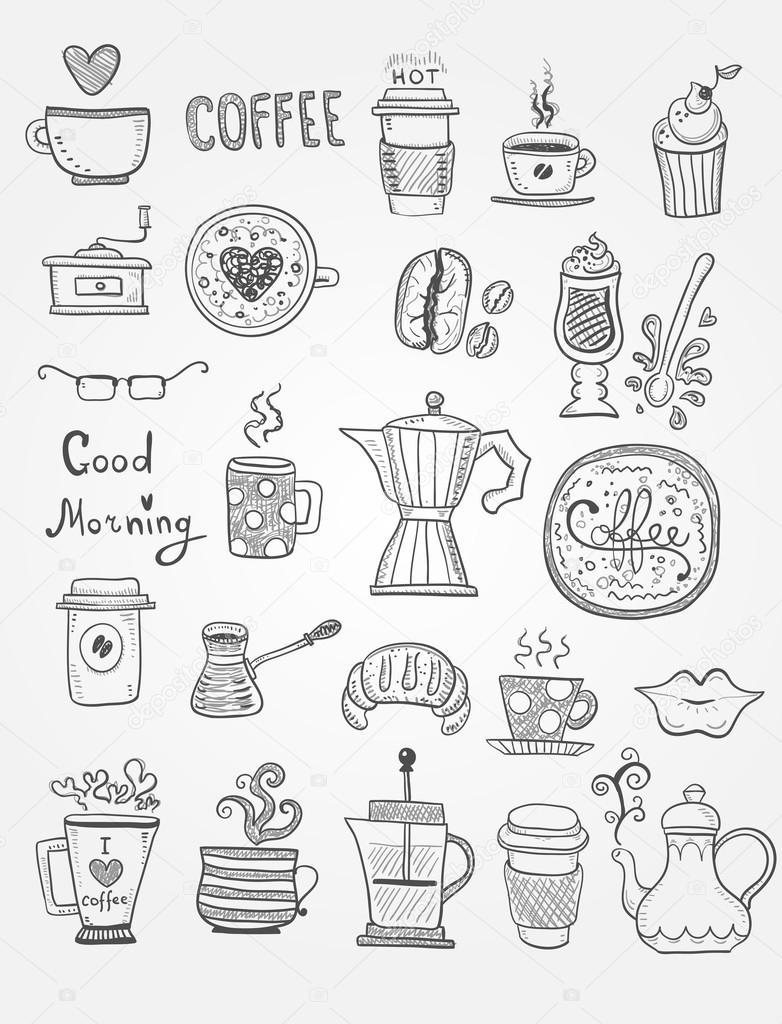 café doodles — Image vectorielle orfeev © #61547743