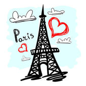 Black hand drawn Eiffel tower