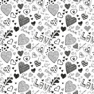Cute black hearts signs on white background clip art vector