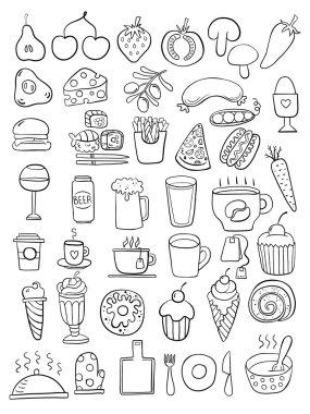 Black food doodles