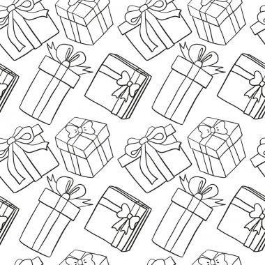 Black gift boxes signs on white seamless background clip art vector