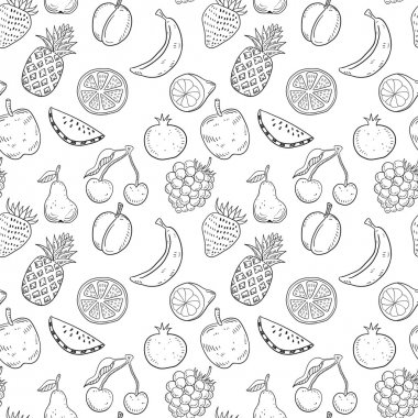 Black hand drawn fruits