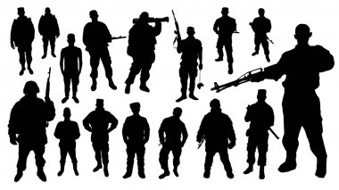 Black soldiers silhouettes on white background stock vector
