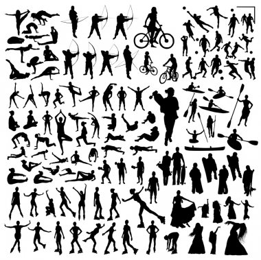 Silhouettes of athletes in motion