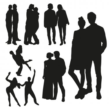 Black couples silhouettes