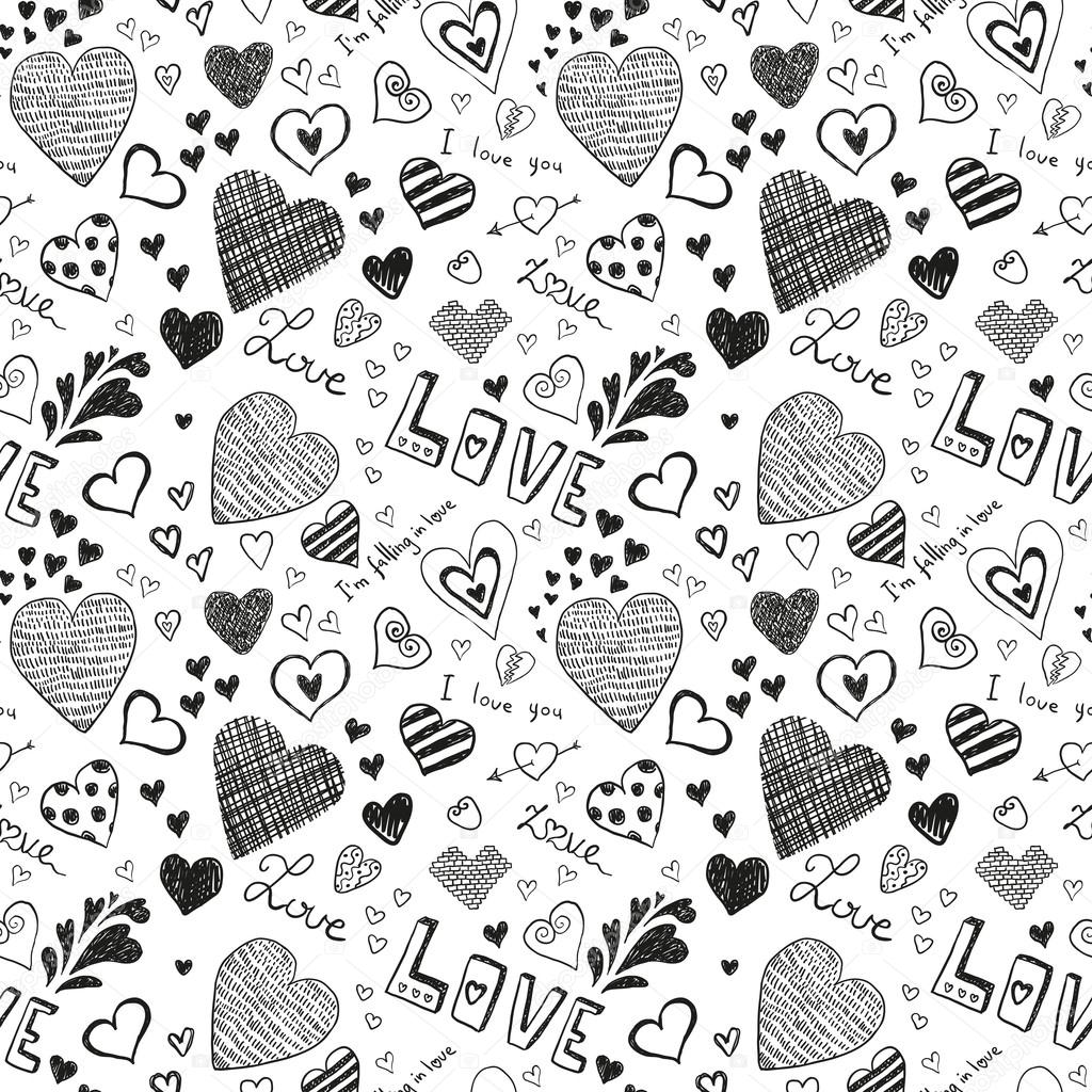 Cute black hearts signs on white background clipart vector