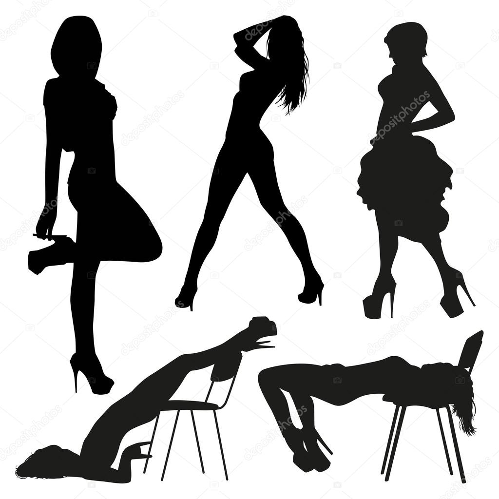silhouettes of the sexy girls stock vector orfeev 74461353 rh depositphotos com