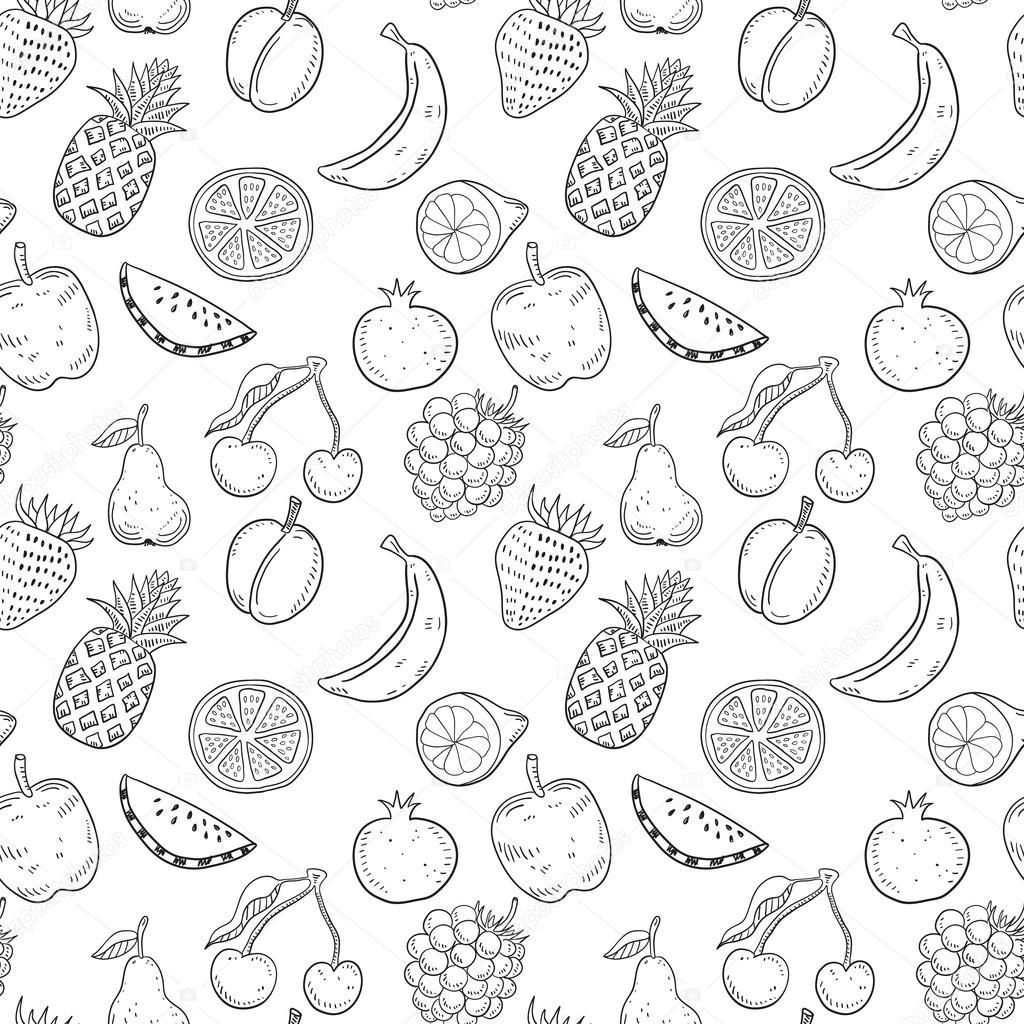 Black hand drawn fruits