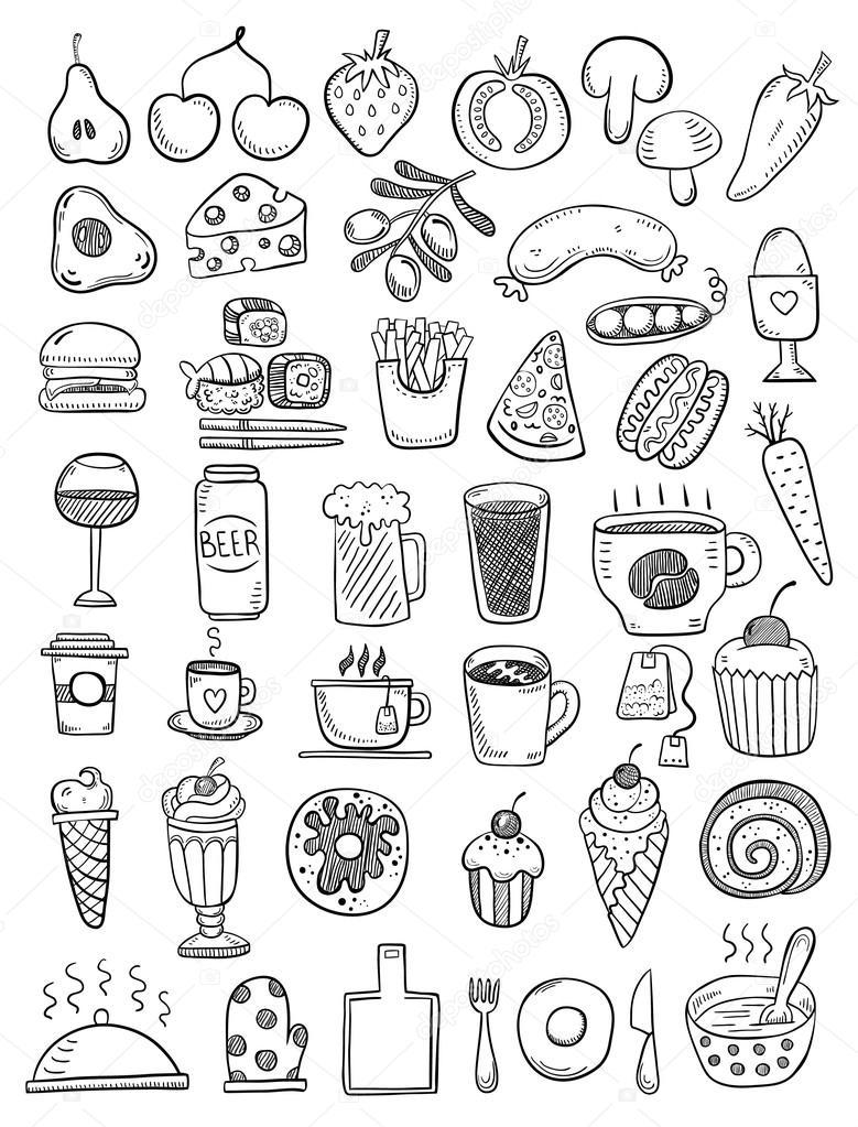 Black hand drawn food objects