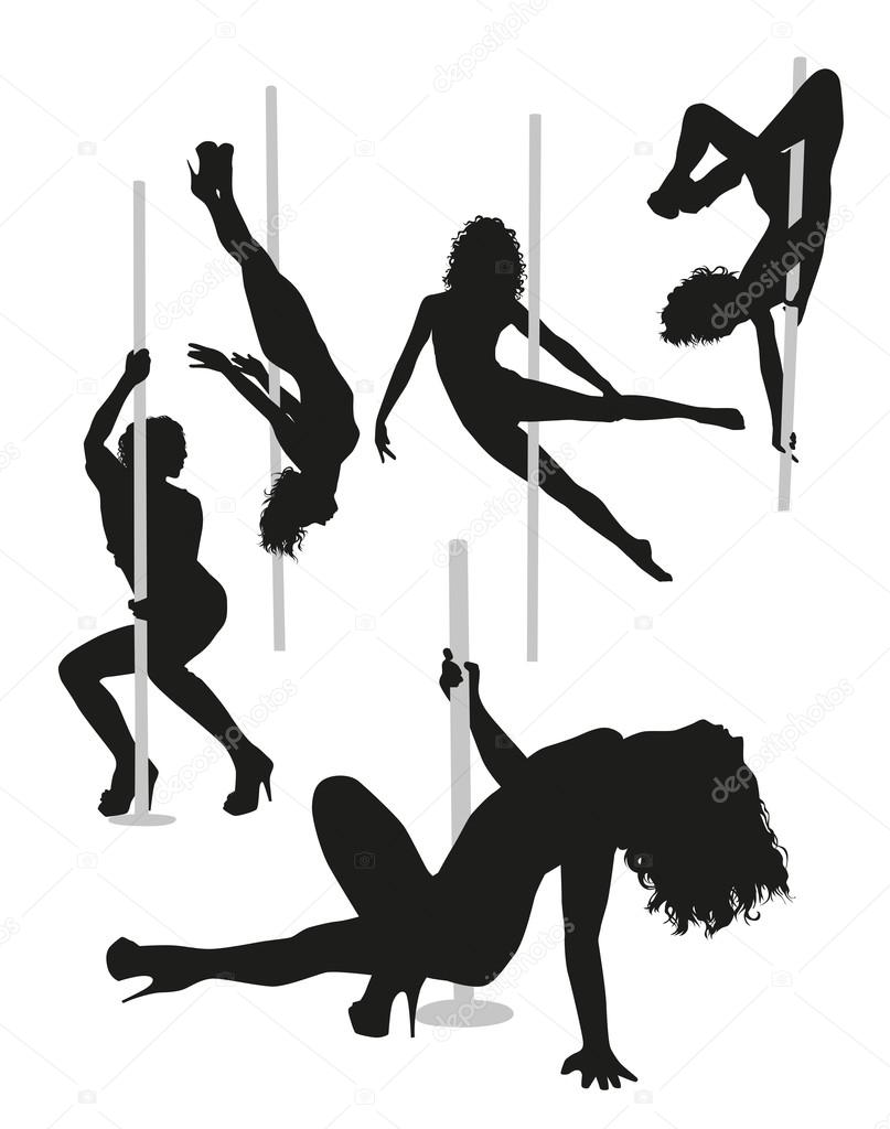 Female strippers silhouettes Vector Graphics. Stripper pole Stock Vectors  Royalty Free Stripper pole
