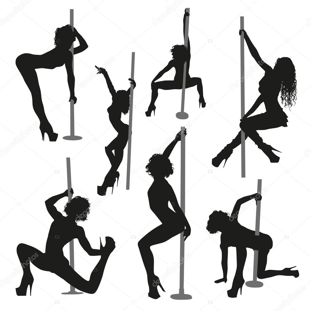 Black female strippers silhouettes on white background   Vector by orfeev. Female strippers silhouettes   Stock Vector   orfeev  74461529