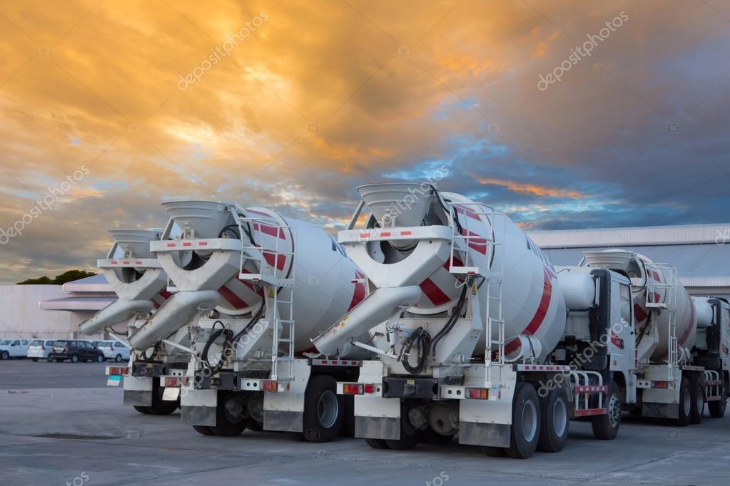 cement mixers car with beautiful sky