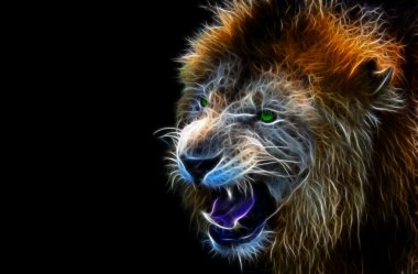 Digital fantasy art of a lion
