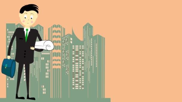 Animierter Yong-Geschäftsmann mit Aktentasche. Existenzgründungsprojekt. Gründerbanner mit Weltraumrakete.