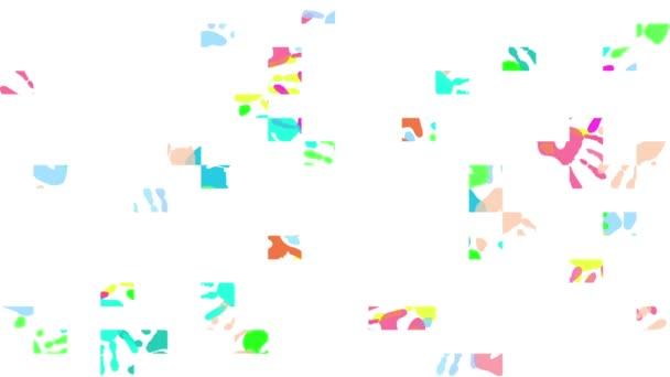 Animation. Farbige Abdrücke von Kinderhänden auf weißem Hintergrund.