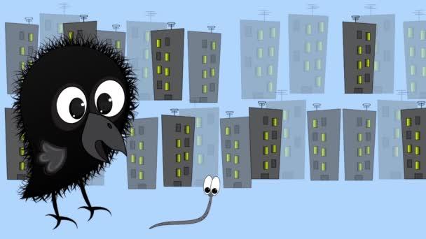 Animáció kis varjú utoléri a féreg. A varjú a féreg után fut a város hátterében..