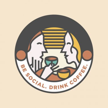 New silhouette of man women drink coffee cafe logo design vector illustrations icon