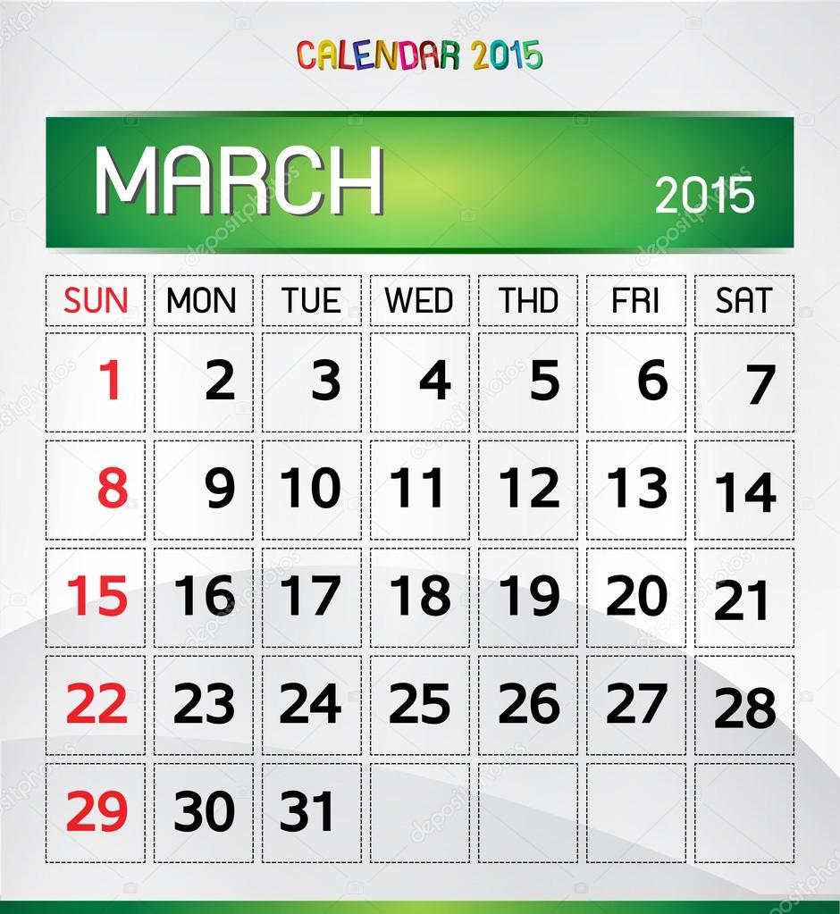 kalender 2015 — Stockvektor © sazori #58403409