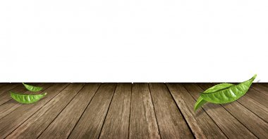Green tea leaves on Wooden floor background