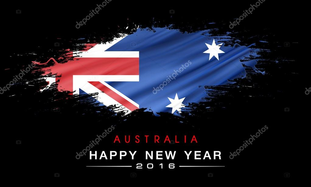 happy new years with splashes australia flag background stock photo 78848274