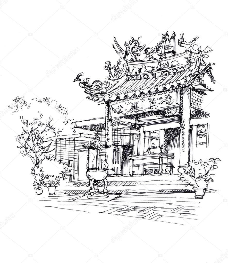 caneta de templo chinês desenho desenho ilustração fotografias de