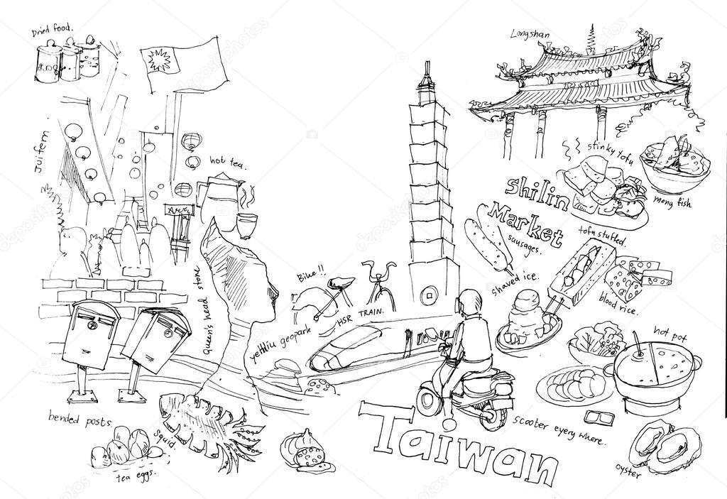 Cestovani Do Tchaj Wan Ilustrace Kresby Pamatek A Zabavne Veci