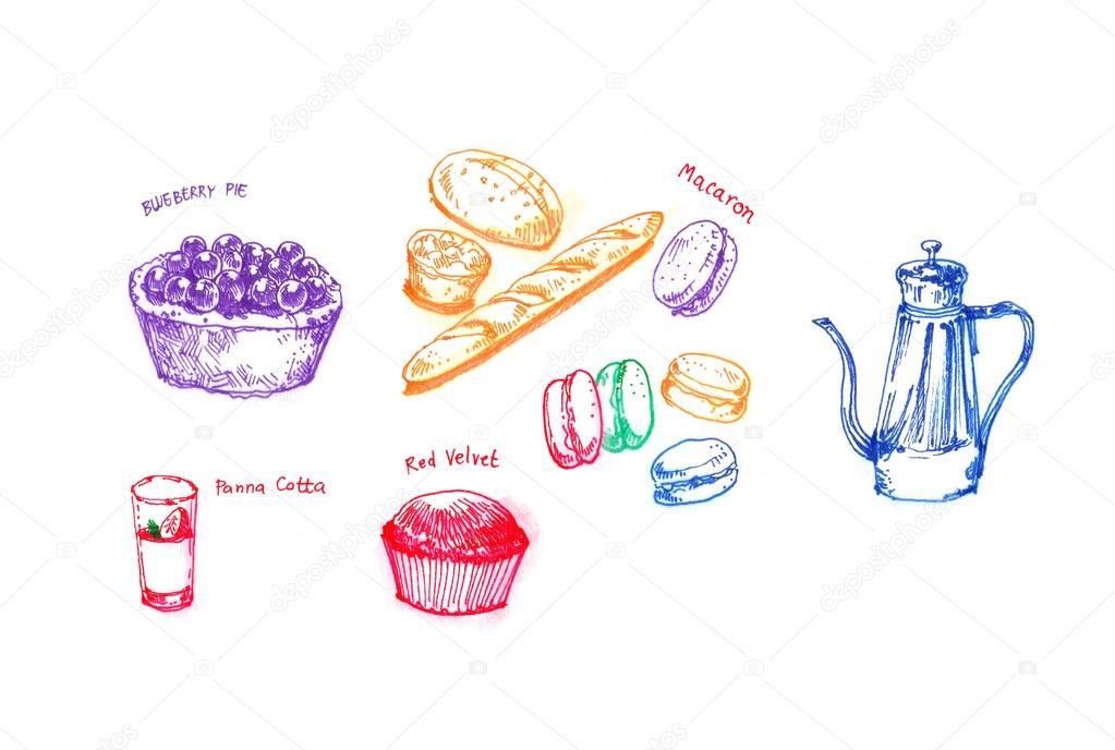 Apr s midi go ter avec vari t de main dessert dessin illustr photographie glowonconcept - Dessin gouter ...