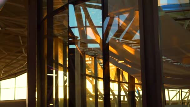 Sunset shine in glass architecture interior shot abstract futuristic of modern building