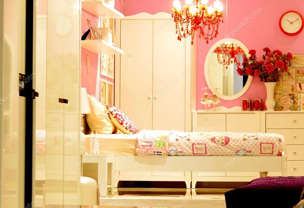 design d\'intérieur chambre à coucher vintage rose — Photographie ...
