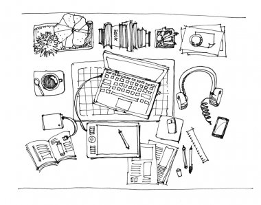working table top view illustration