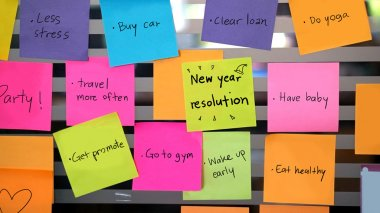 new year resolutions post it