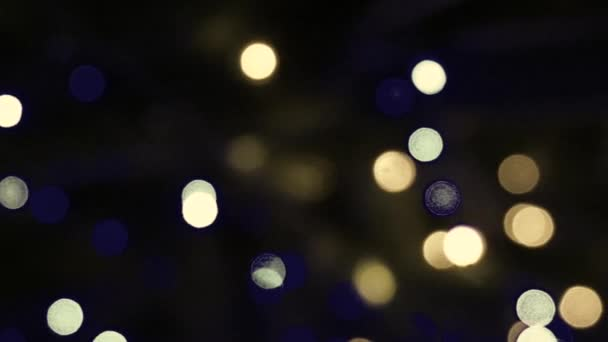 HD 1080 Video Of Bokeh On Dark Background Christmas Light Vintage Stock