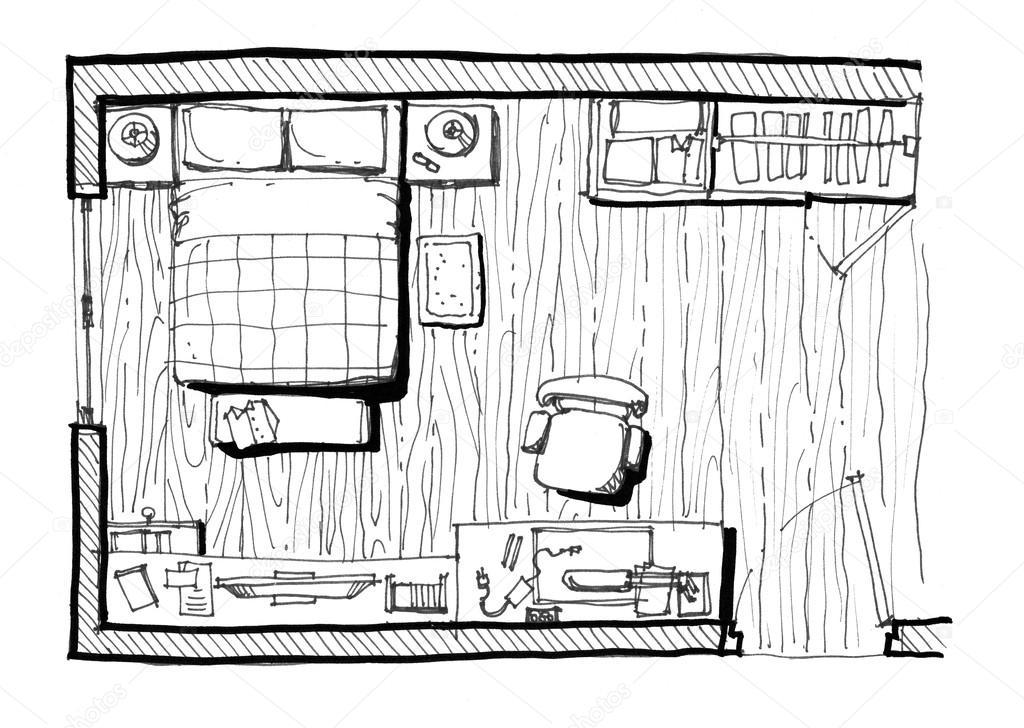 slaapkamer indeling illustratie stockfoto
