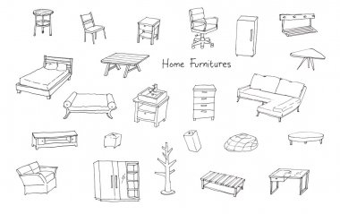 variety of modern home furnitures hand drawing illustration