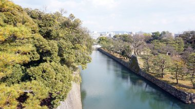 Canal water and trees around nijo castle