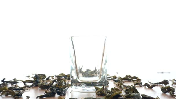 Dried Tea leaf filling in glass